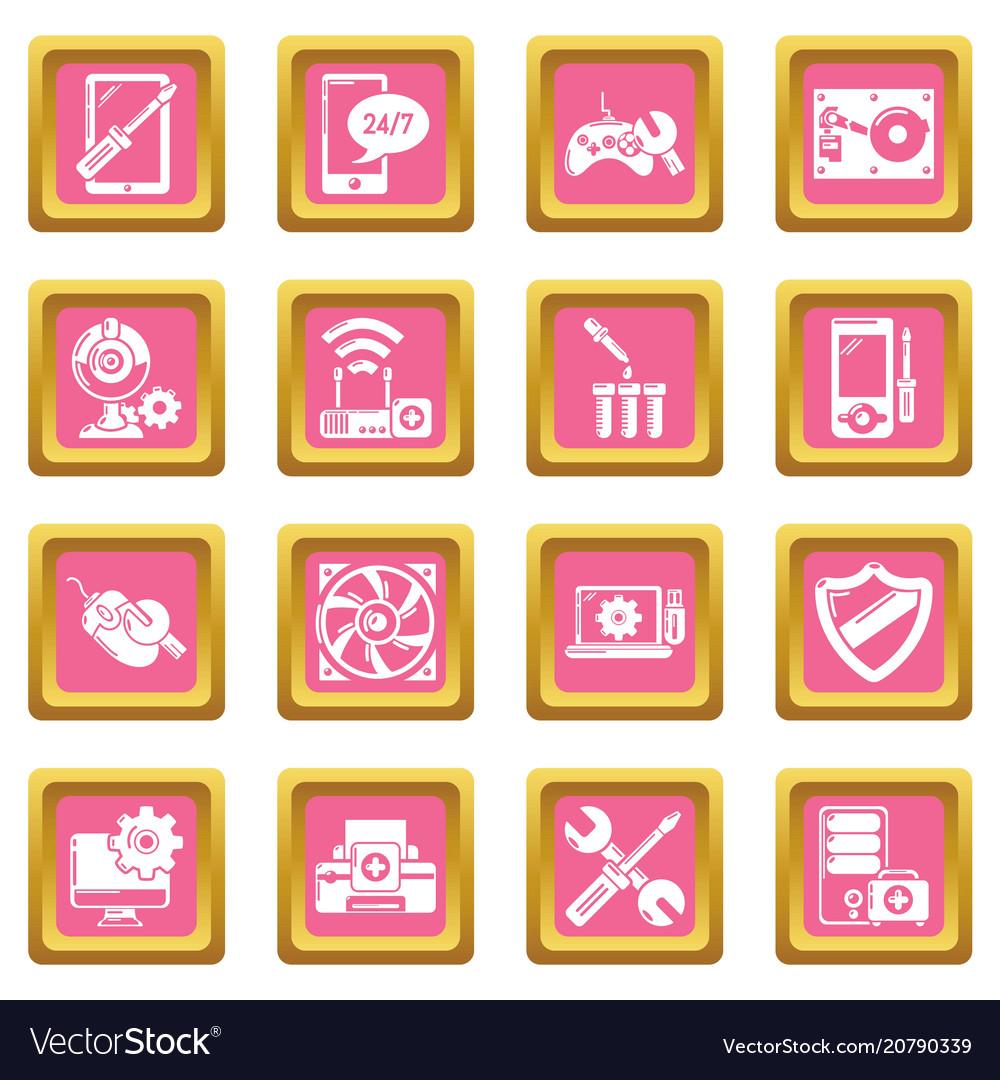Computer repair service icons set pink square