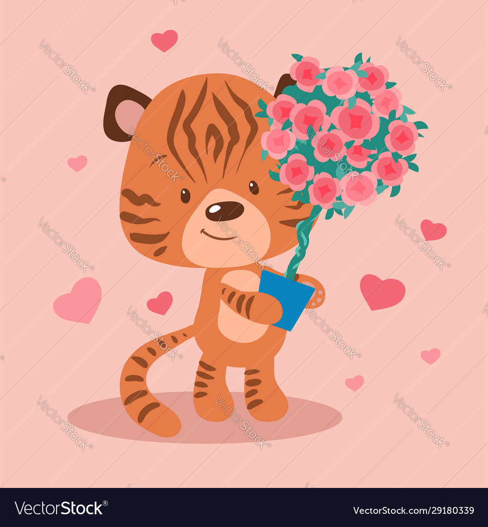 Cute cartoon tiger with a topiary in a pot of vector