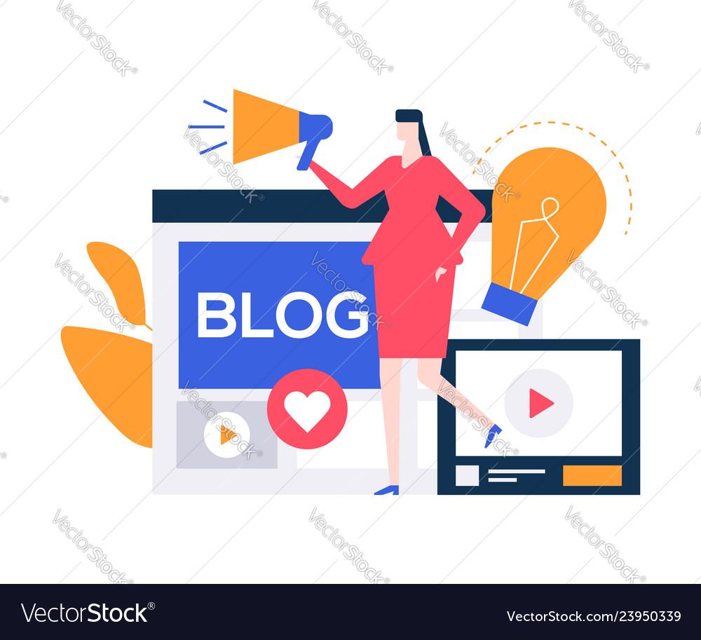 Female blogger - colorful flat design style