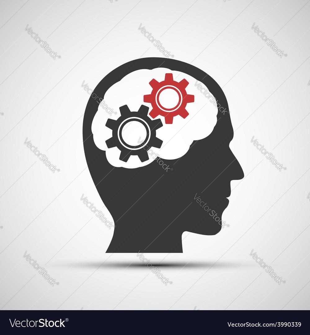 Icon of human head with mechanical gears