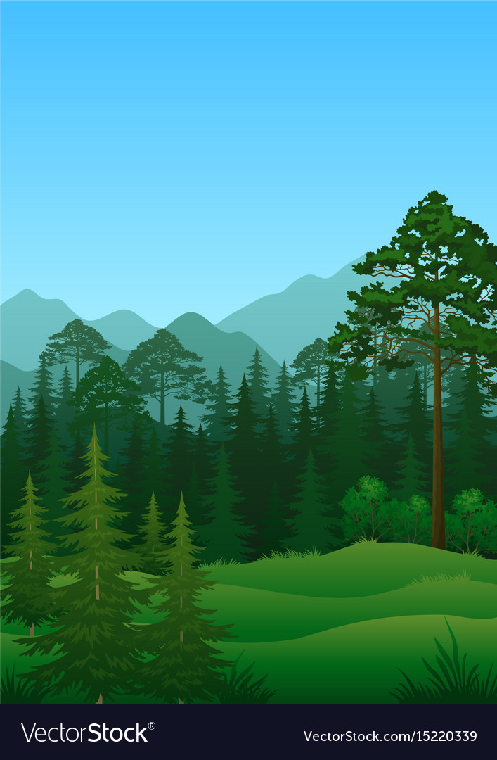 Landscape trees and mountains