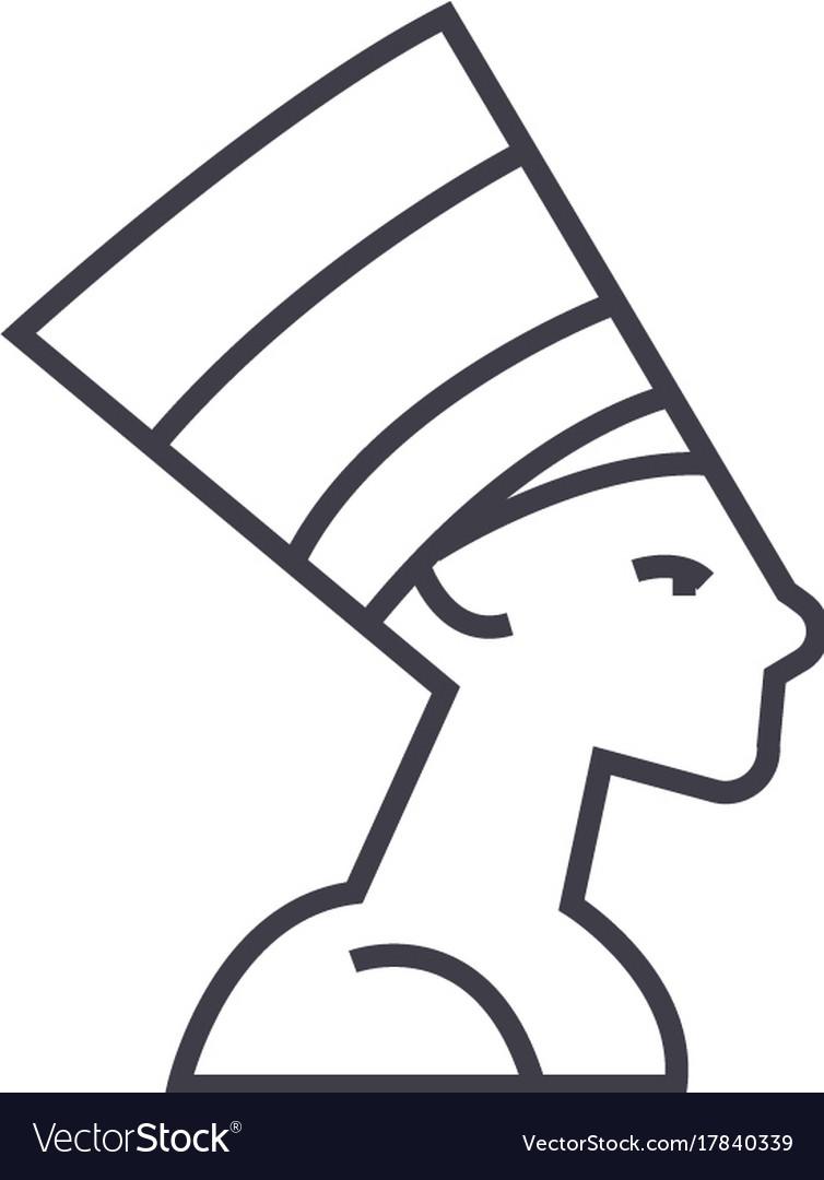 Nefertityegypt line icon sign