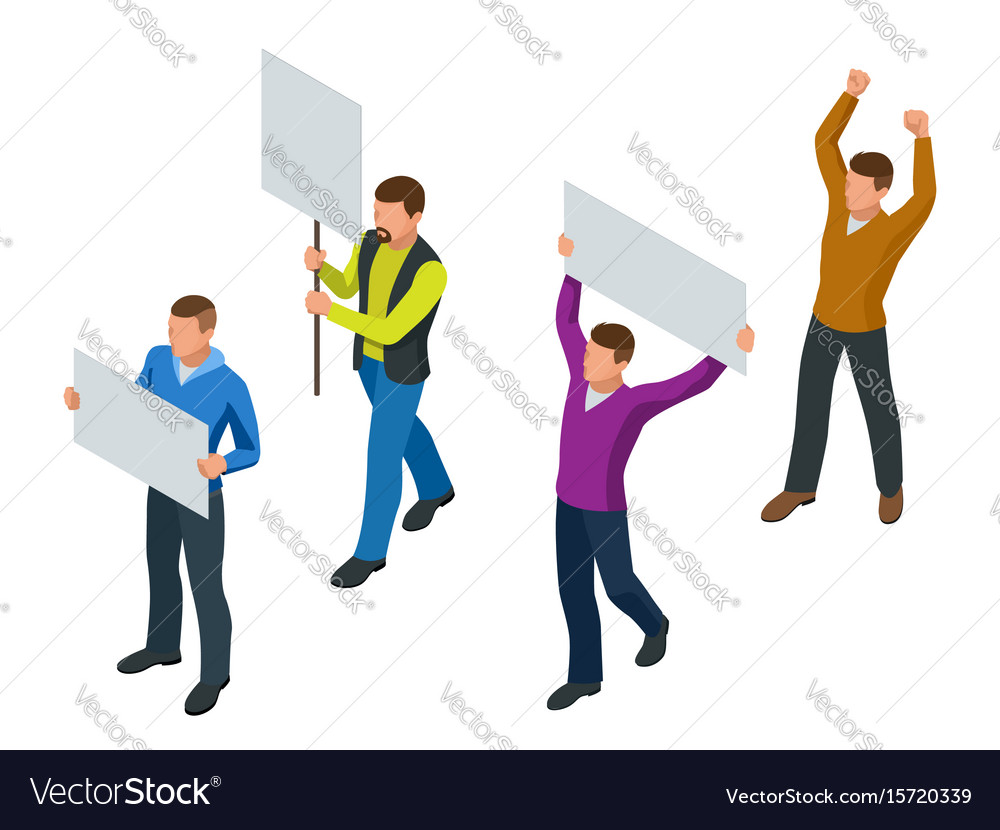 Protest isometric people with placard and