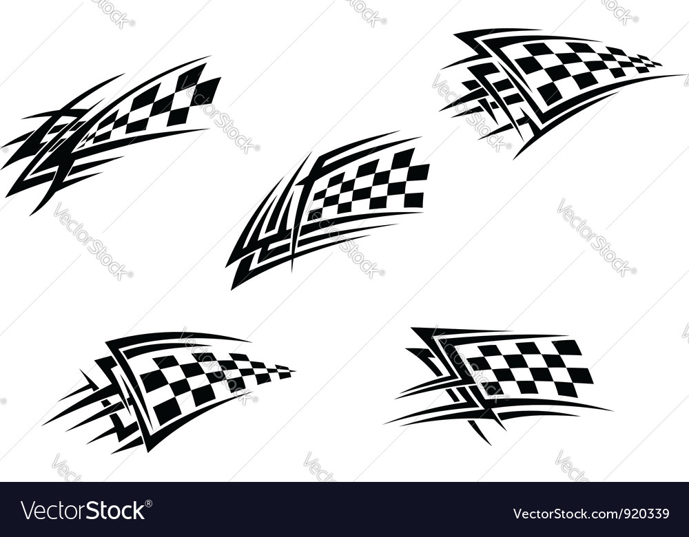 Racing flags in tribal style vector image