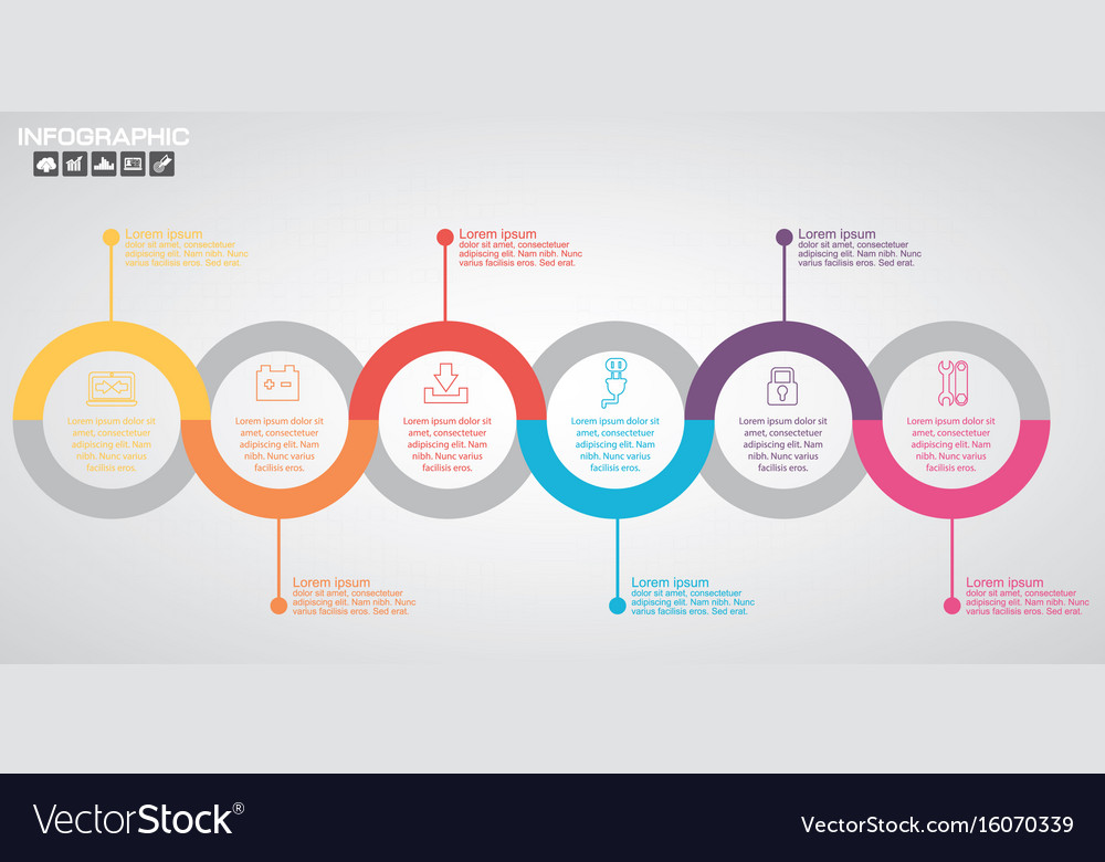 Timeline infographics design template with 10 vector image