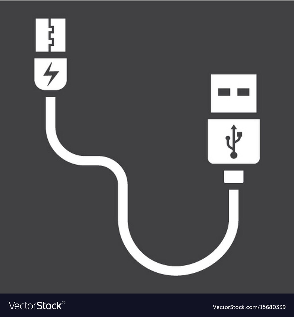 Usb cable solid icon connector and charger vector image