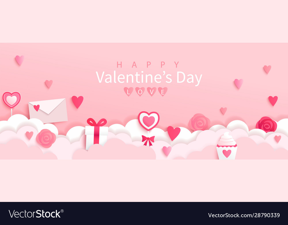 Valentines day banner with symbols holiday