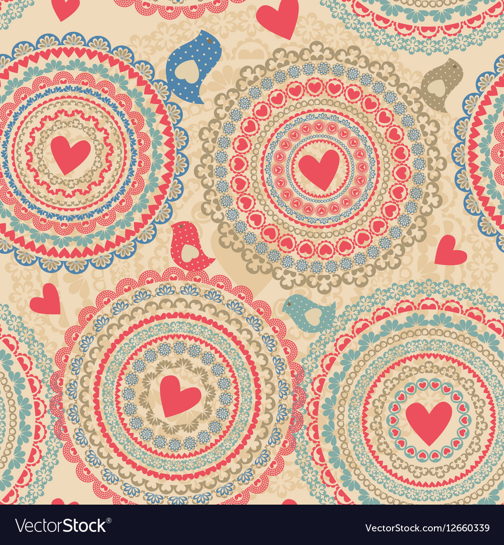 Vintage seamless pattern with heart elements vector image