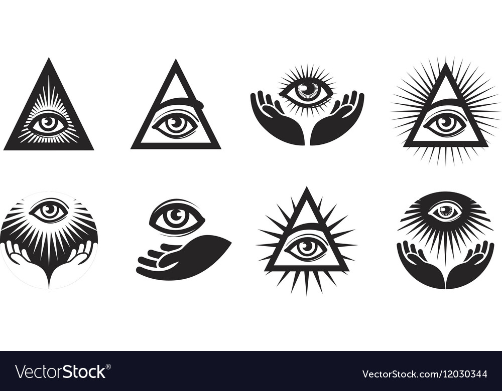 All Seeing Eye icons set Illuminati symbol vector image