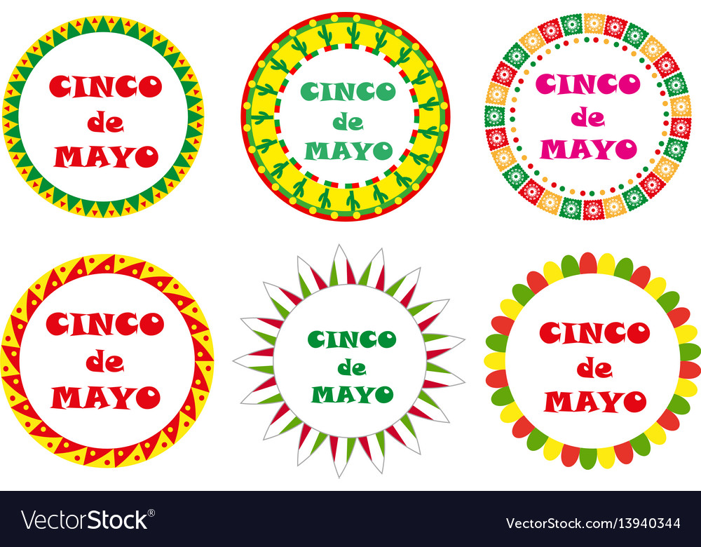 Cinco de mayo set of round frames with space for
