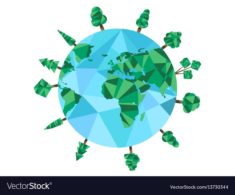 Earth day low poly planet and polygonal trees