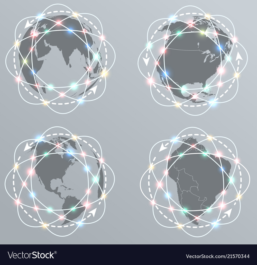 Global connections network earth icons set