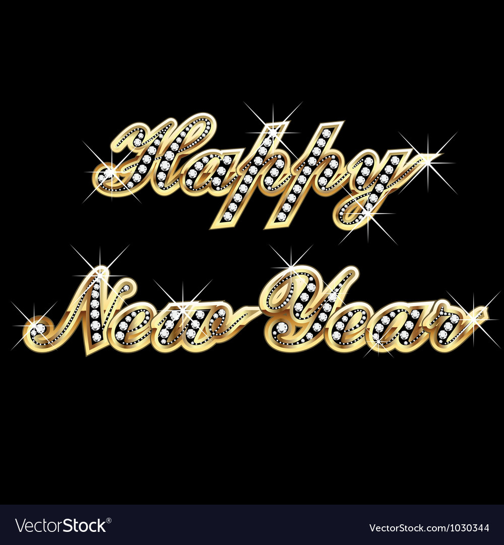 Happy New Year in gold and bling bling