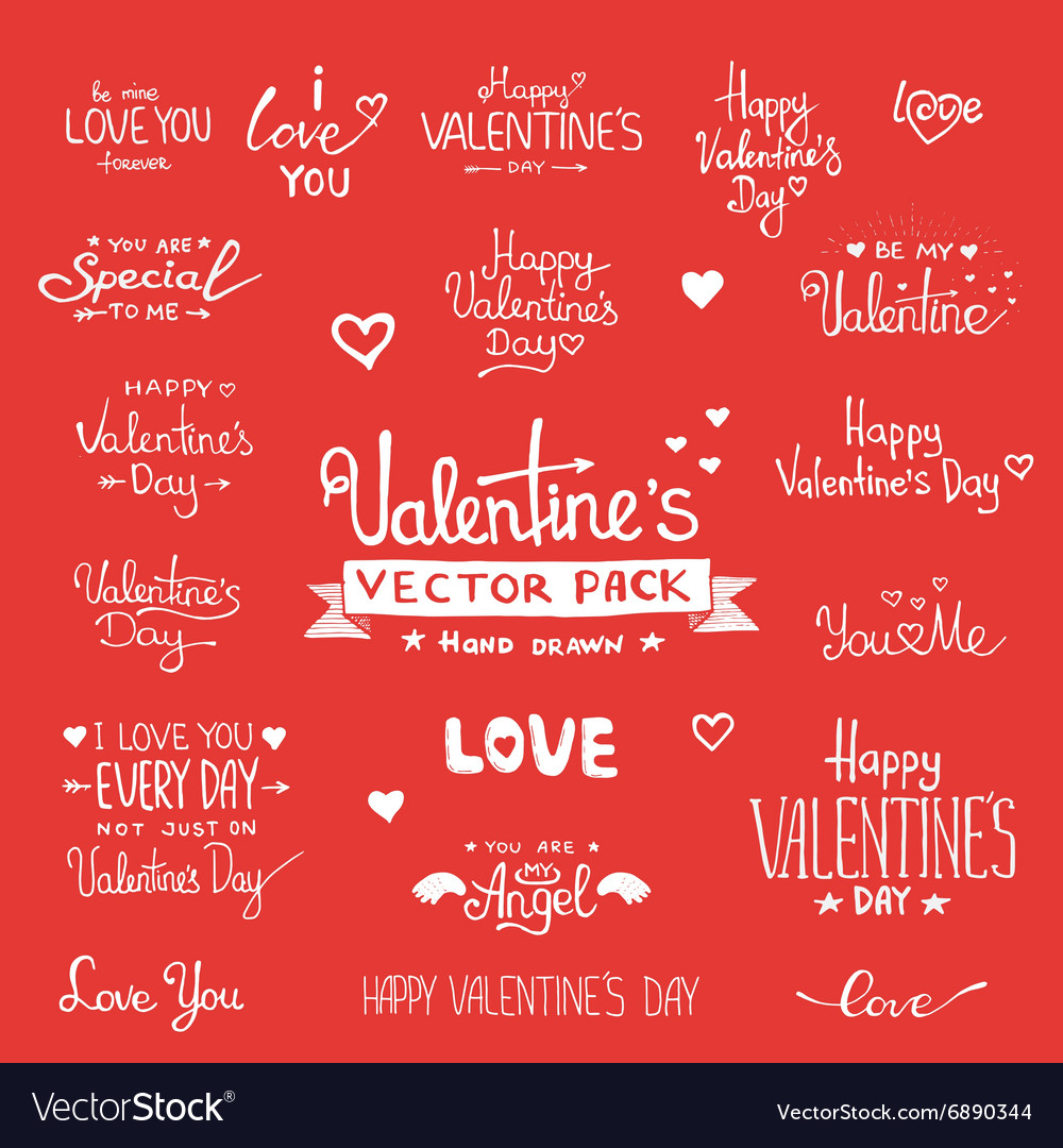 Happy Valentines Day Hand Lettering set