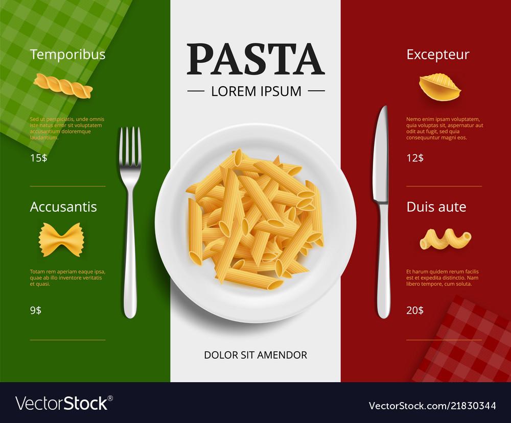 Italian menu cover pasta on plate delicious