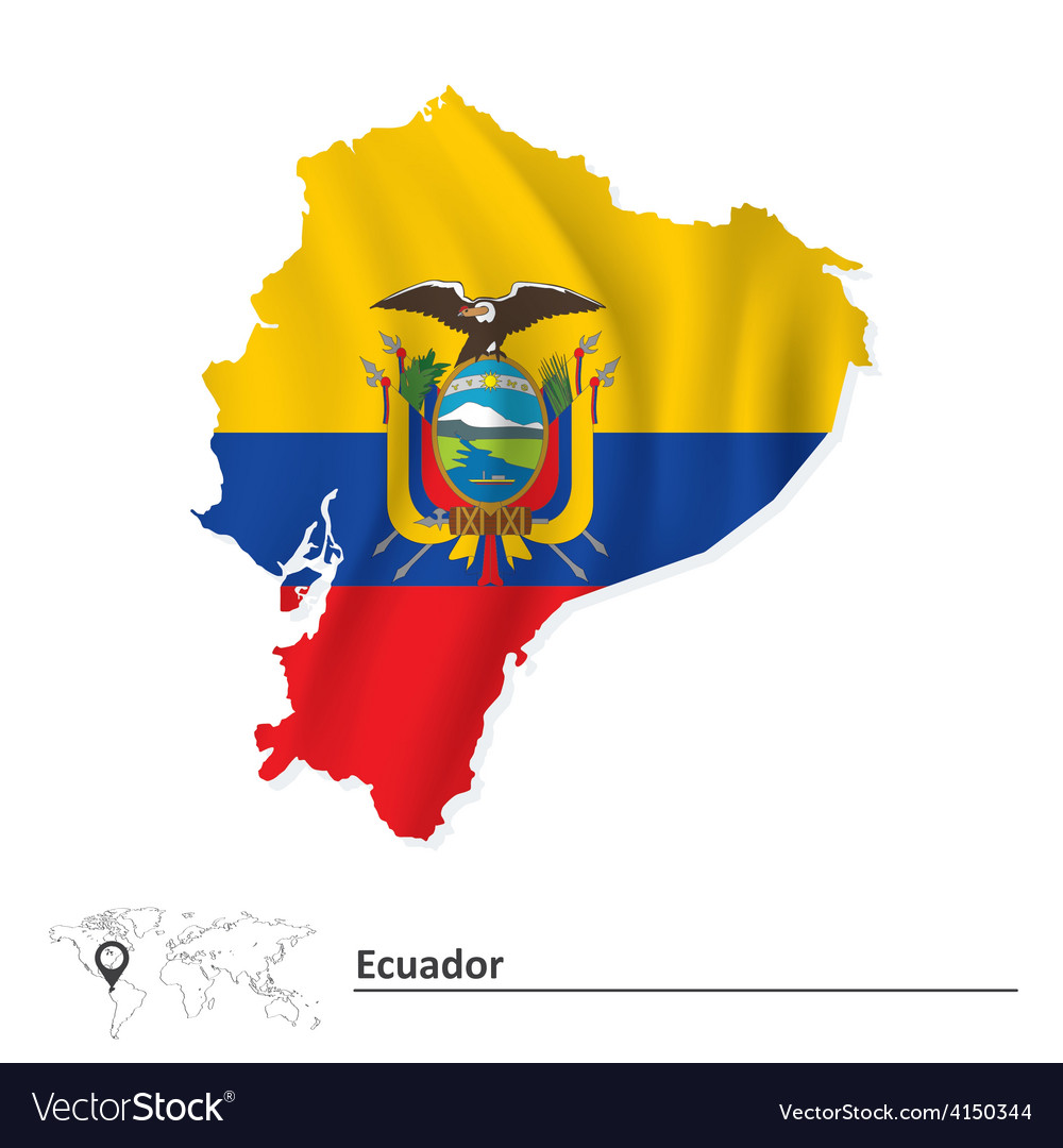Map of Ecuador with flag Royalty Free Vector Image
