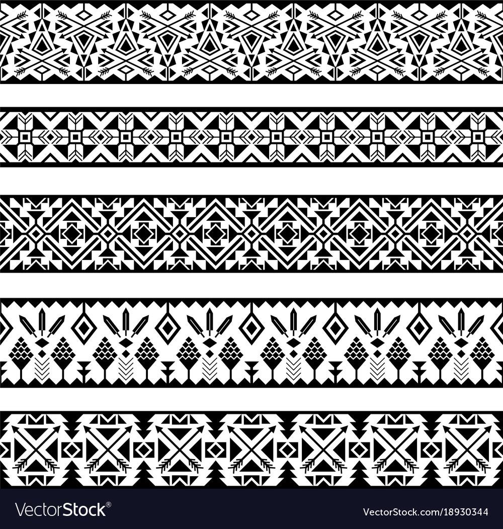 Mexican geometric seamless pattern borders