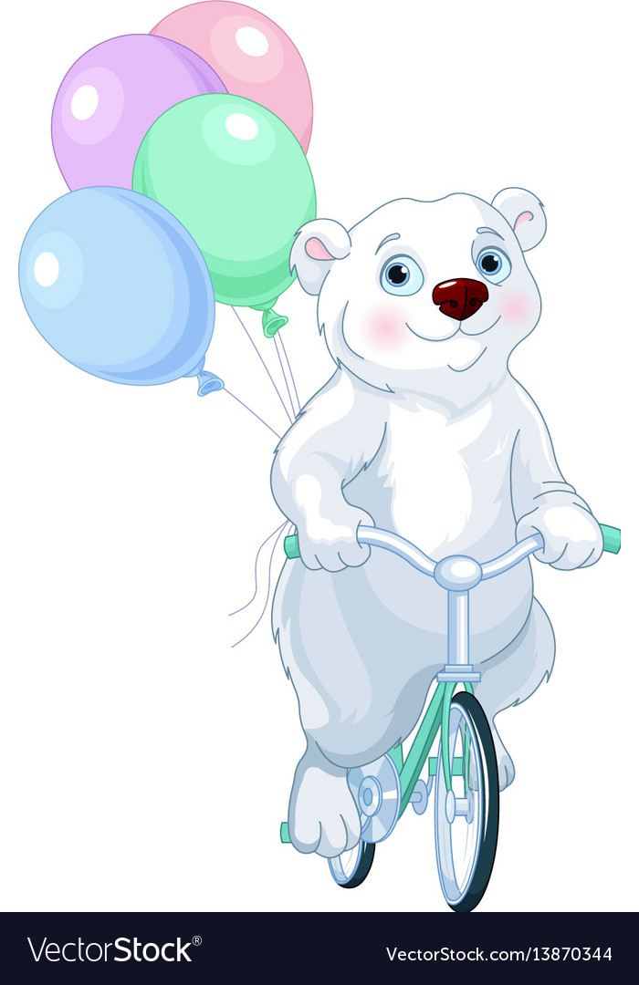 Polar bear riding a bicycle with balloons vector image