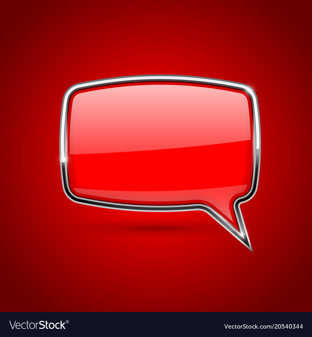 Red speech bubble rectangular 3d icon with chrome