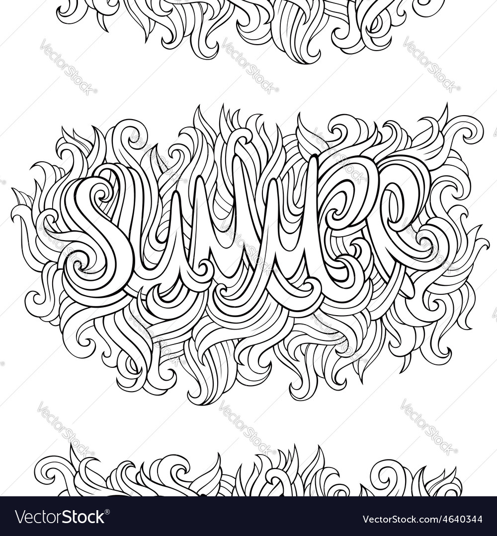 Summer hand lettering and doodles elements