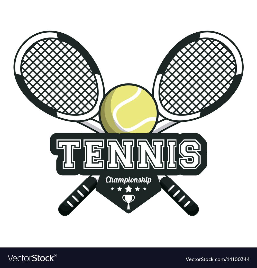 Tennis sport rackets crossed ball emblem image