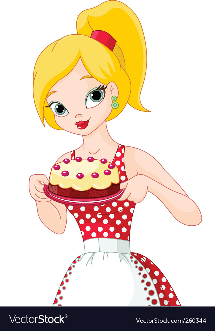 Young woman holding cake vector image