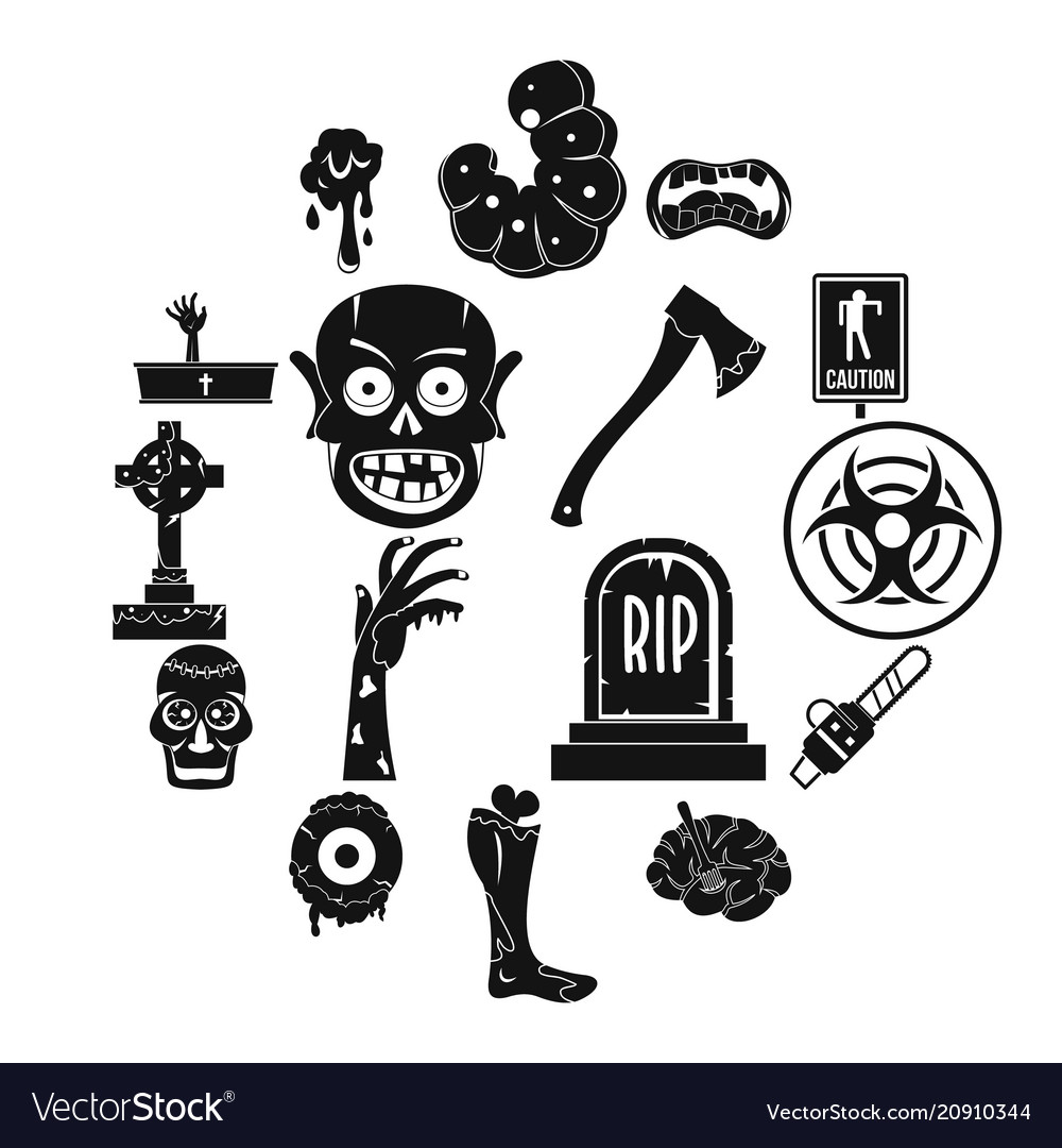 Zombie icons set parts simple style