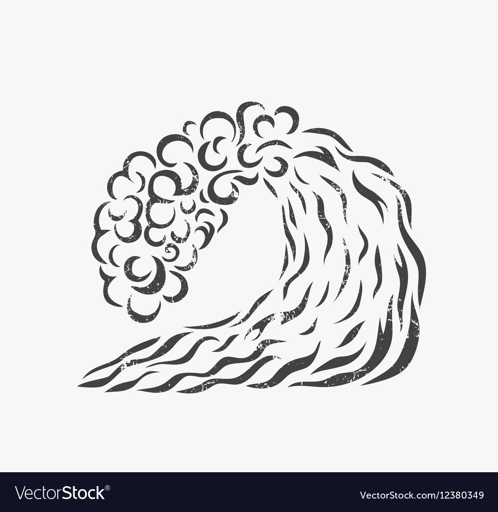 Blue wave Logo design Surfing Silhouette vector image