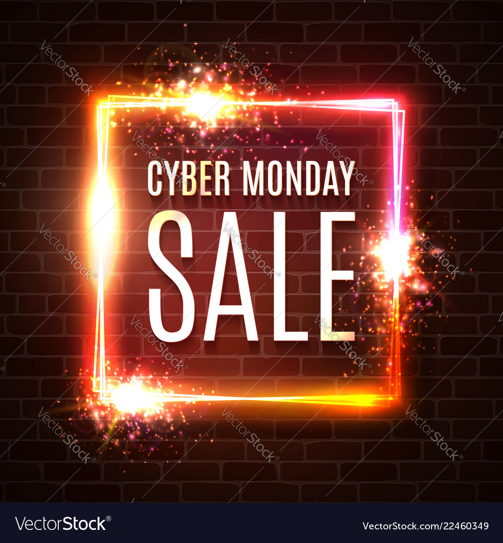 Cyber monday sale text in neon laser square shape