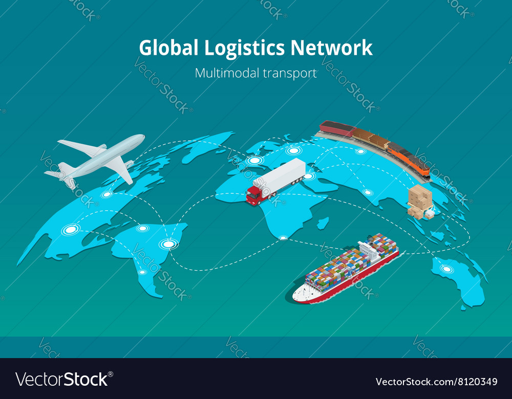 Global logistics network Web site concept Flat 3d