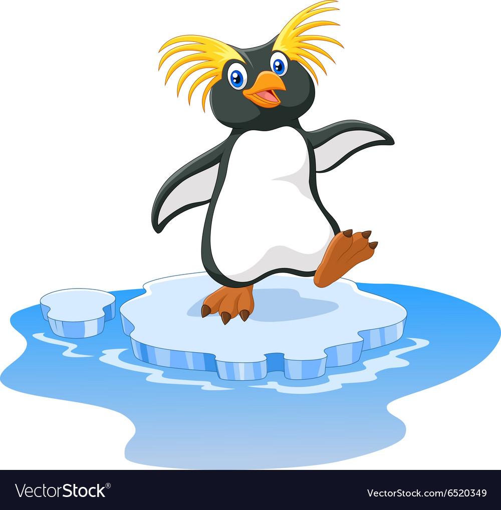 Happy cartoon penguin rockhopper on ice vector image