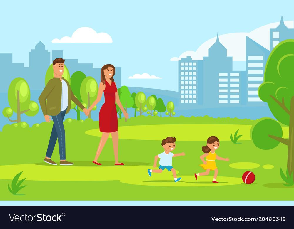 Happy family walking