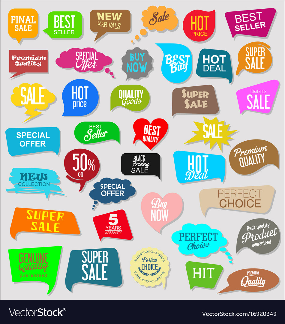 Sale stickers modern design collection vector image