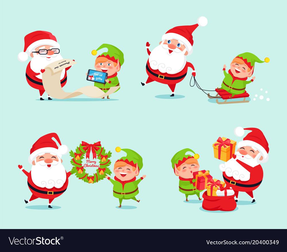 Santa having fun with elf icon