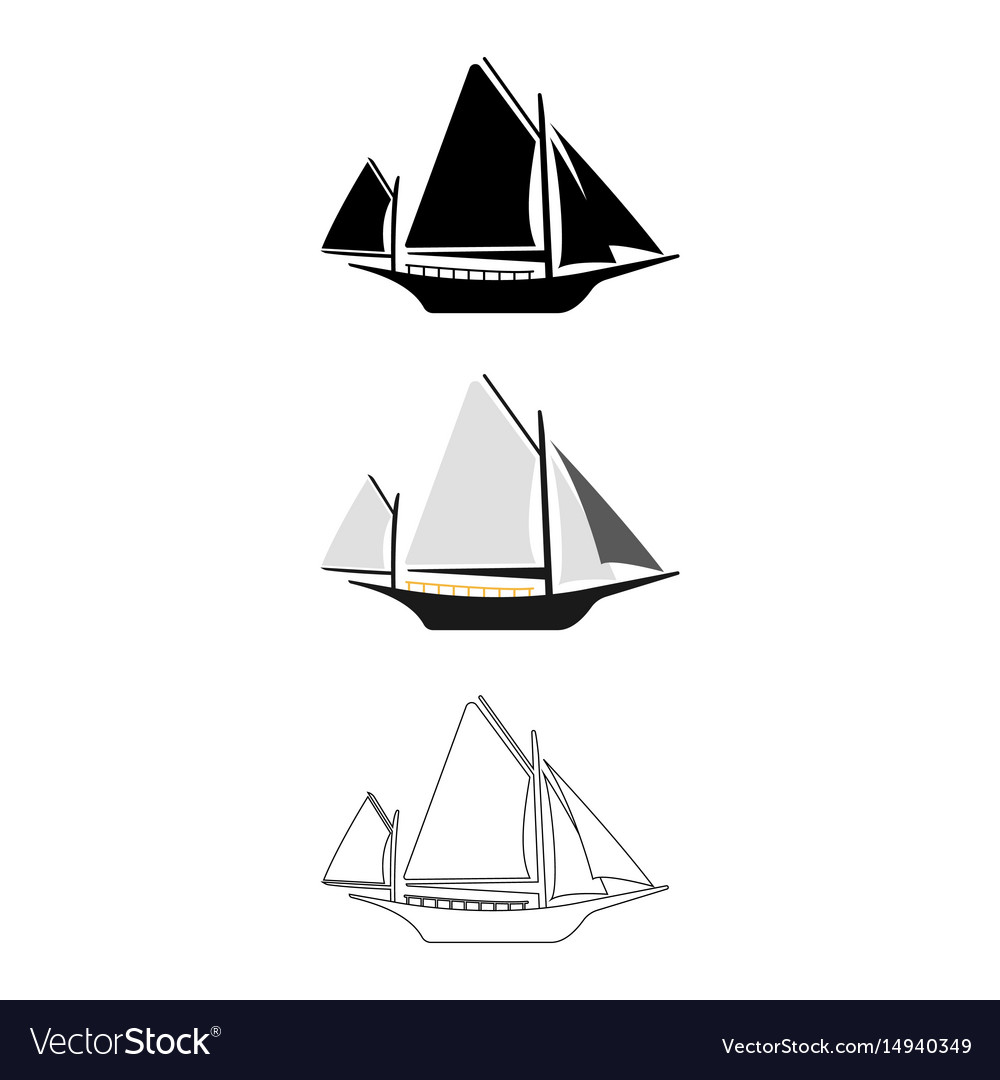 Set of flat boat icon cartoon outline