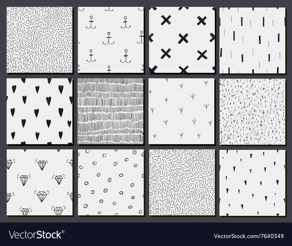 Set of hand drawn seamless cute abstract vector image