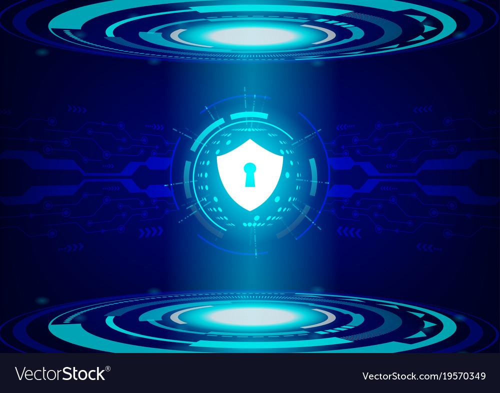 Shield on future technology digital background