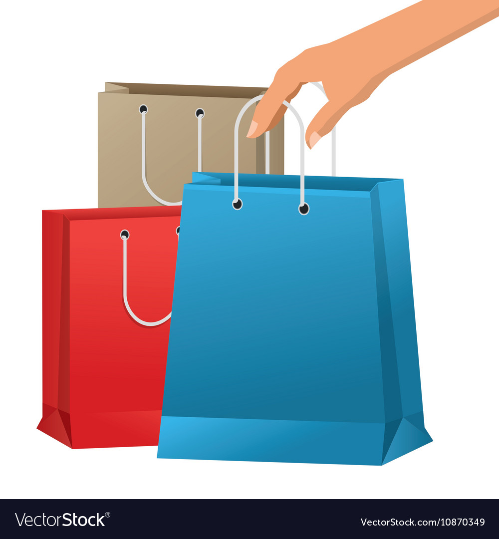 shopping bag and hand design royalty free vector image