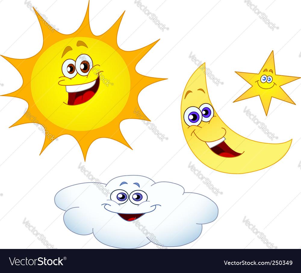 sun moon star and cloud royalty free vector image