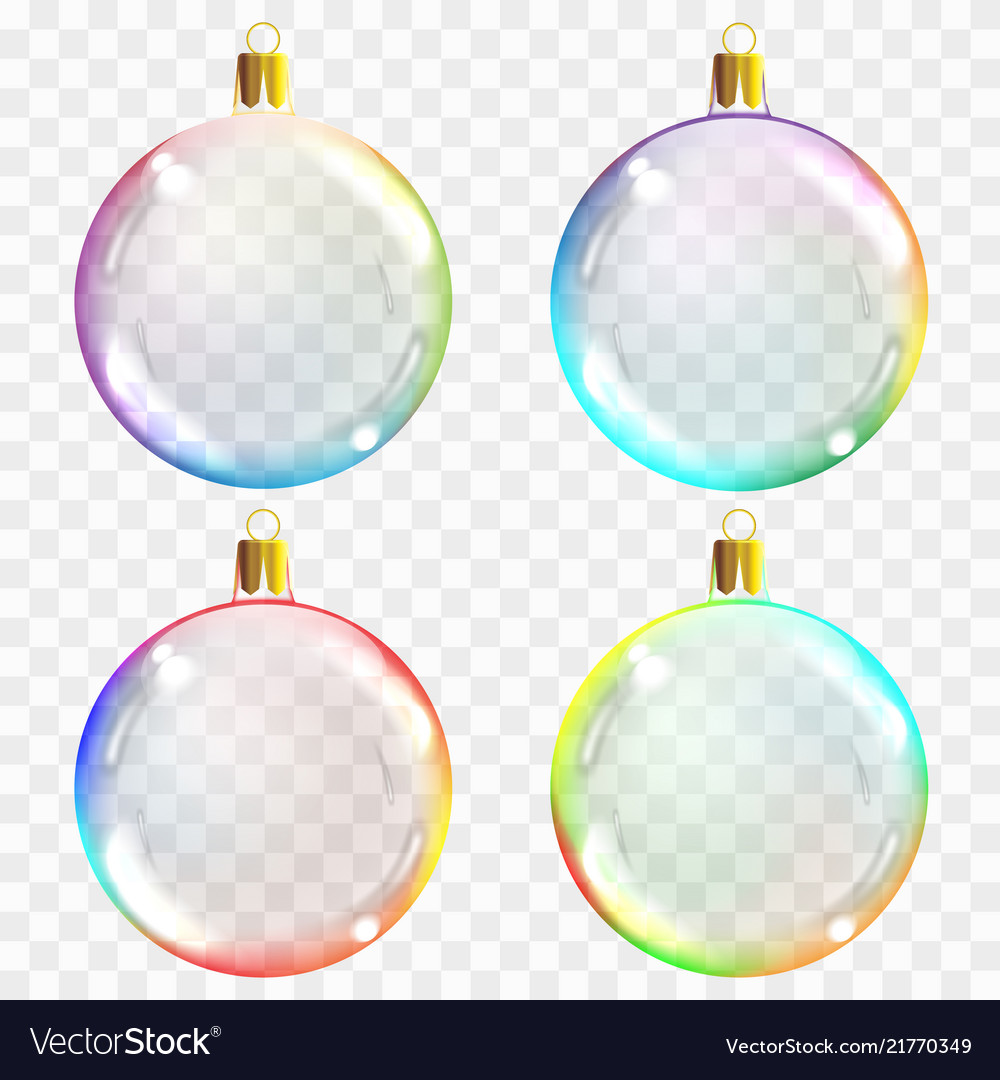 Template of glass transparent christmas balls
