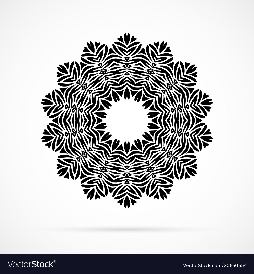 Black geometry mandala over white
