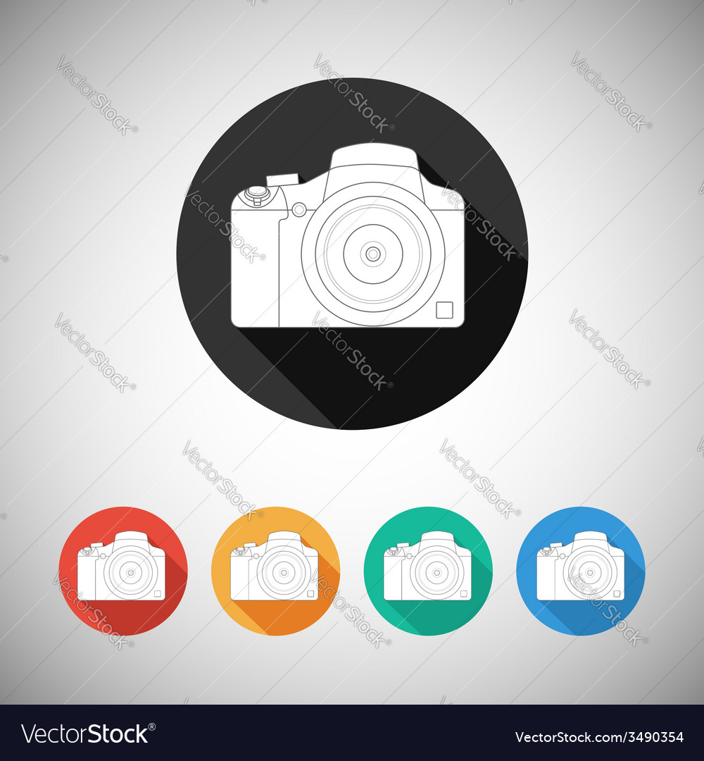 Camera icon on round background with long shadow vector image