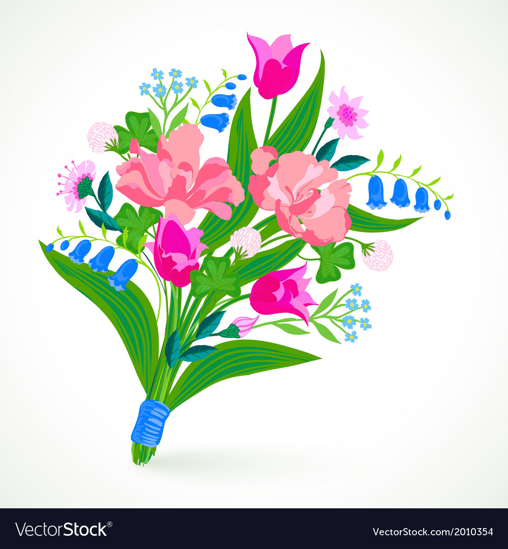 Card With Bouquet Of Spring And Summer Flowers Vector Image