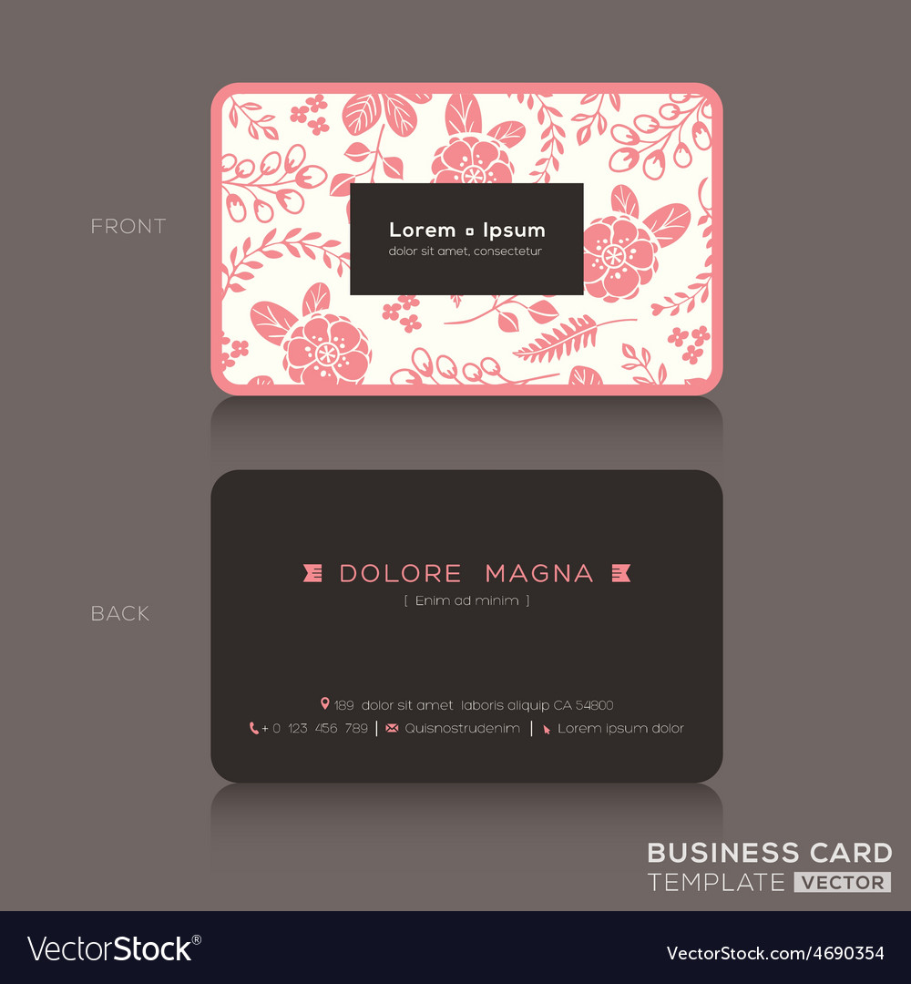 Cute Business Card Pink Floral Pattern Background Vector Image