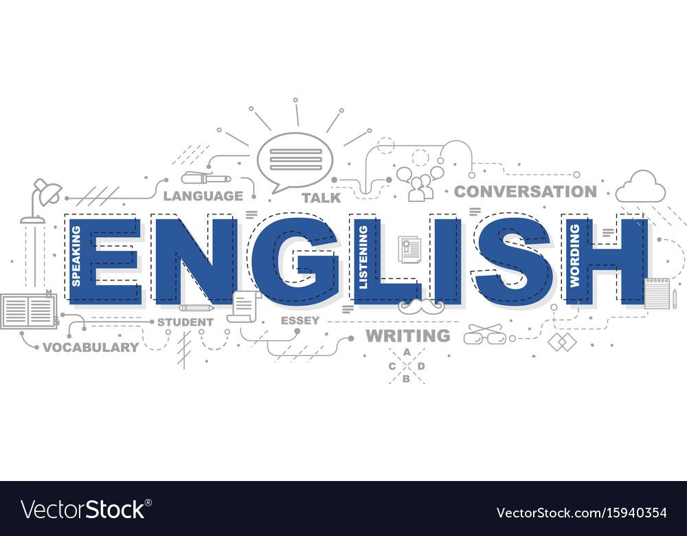 Design concept of word english website banner