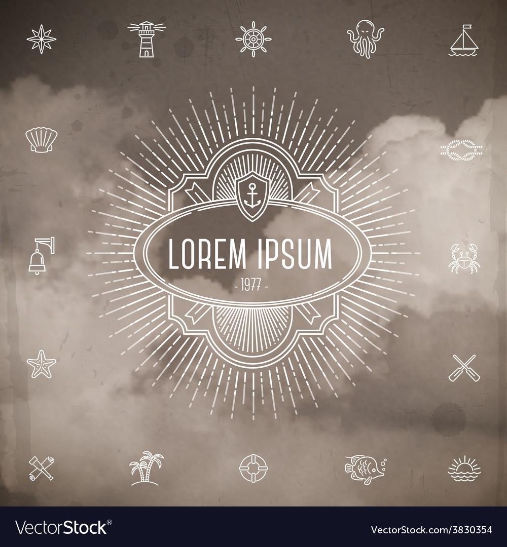Emblem with sunburst and set travel line icons