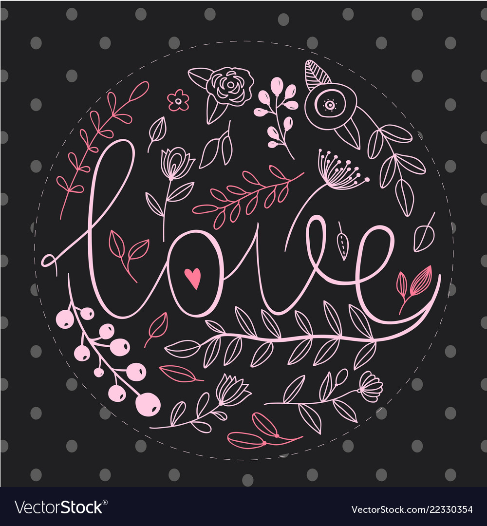 Floral nature love sign with hand drawn elements