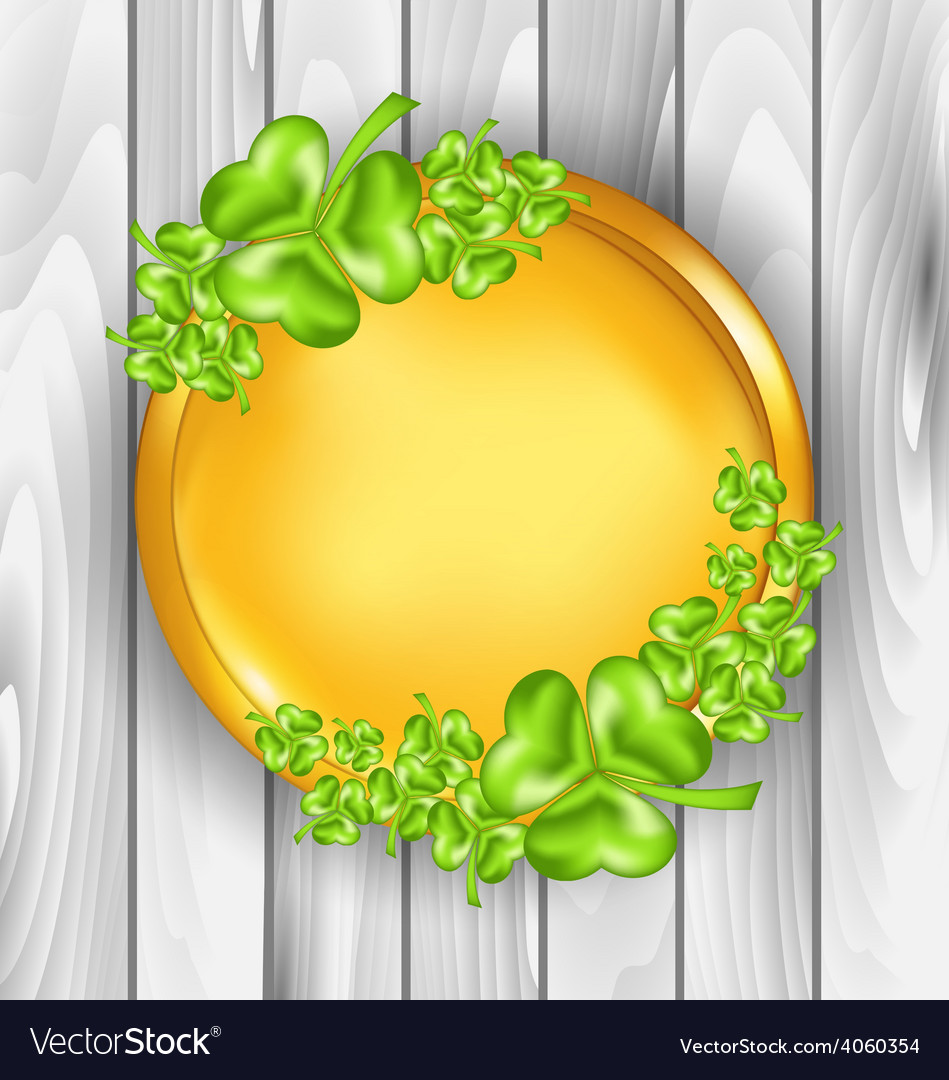 Golden coin with shamrocks St Patricks day symbol