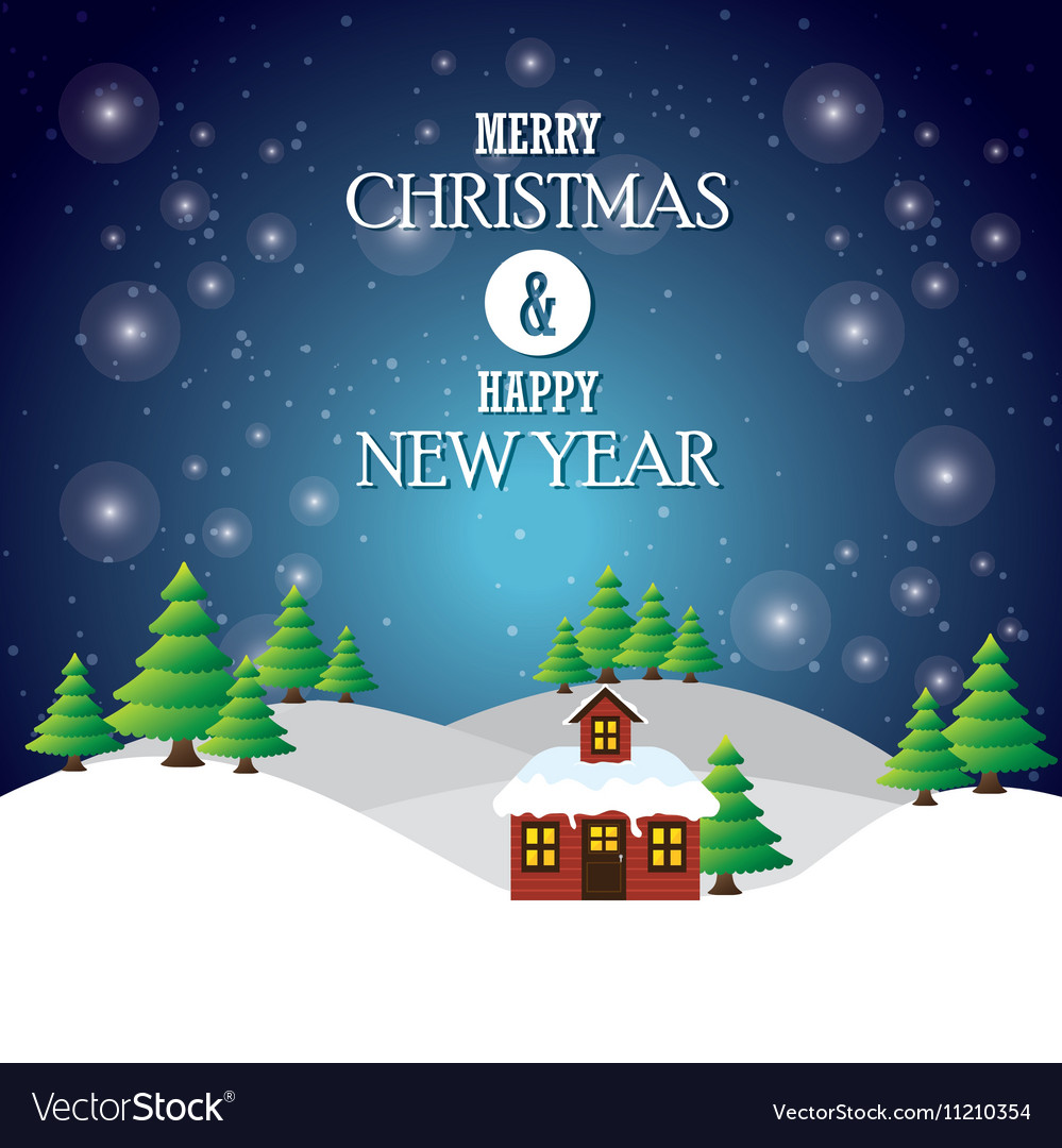 Greeting merry christmas happy new year house