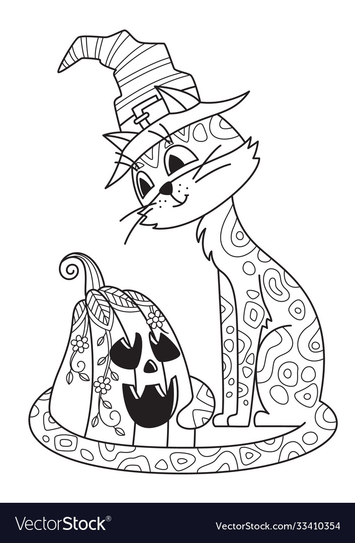 - Halloween Doodle Coloring Book Page Cat And Vector Image